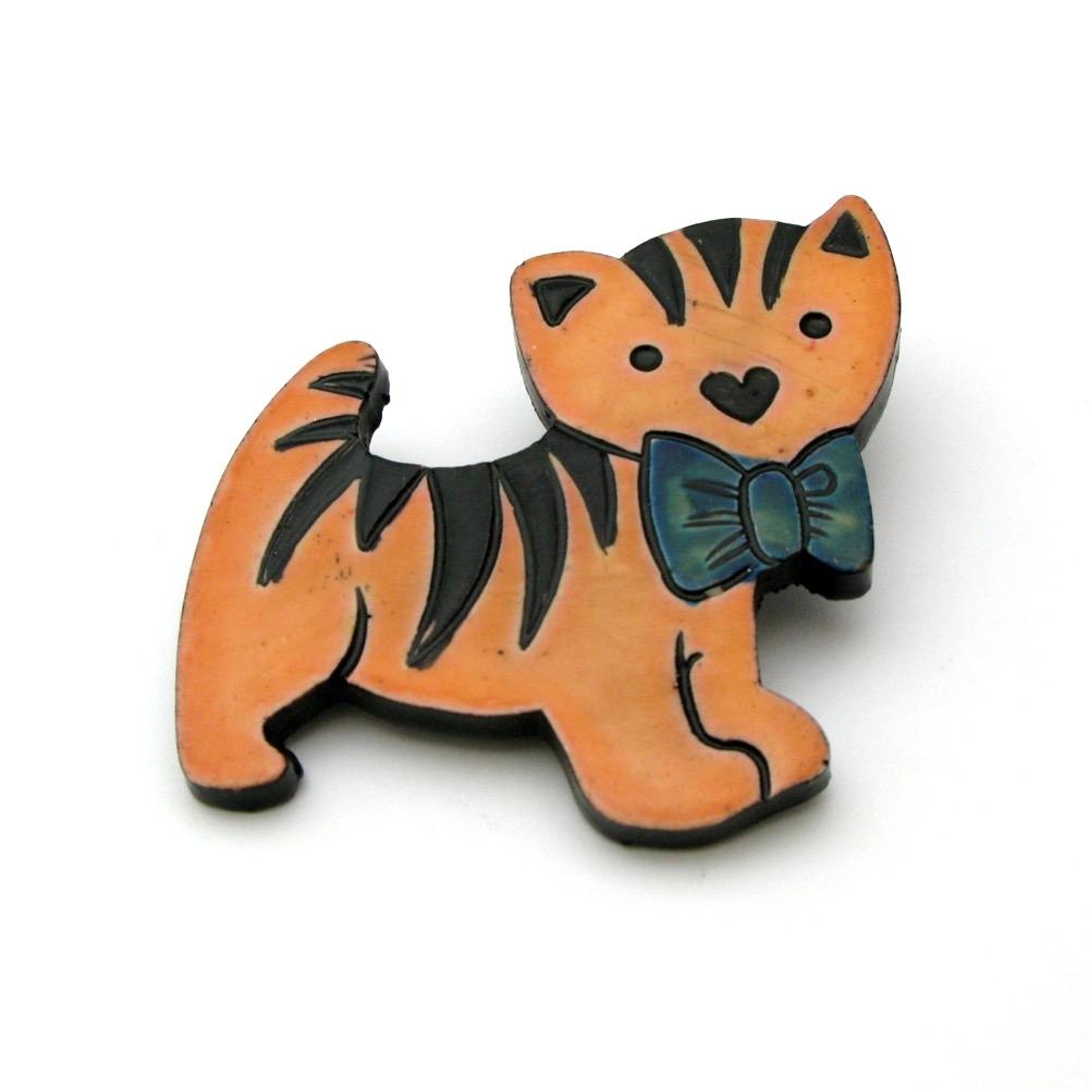 西ドイツ製 猫のブローチ画像