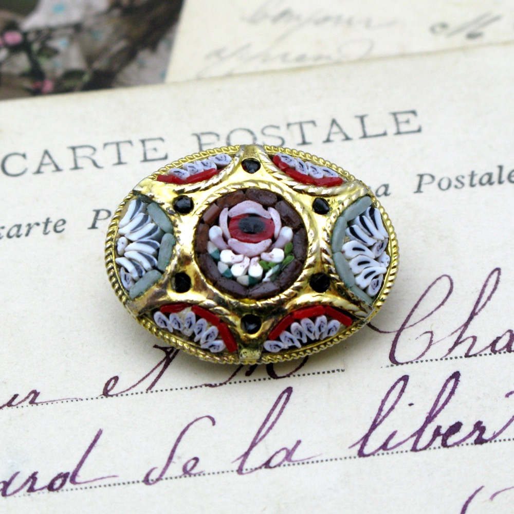 ヴィンテージ イタリア モザイク ブローチ画像