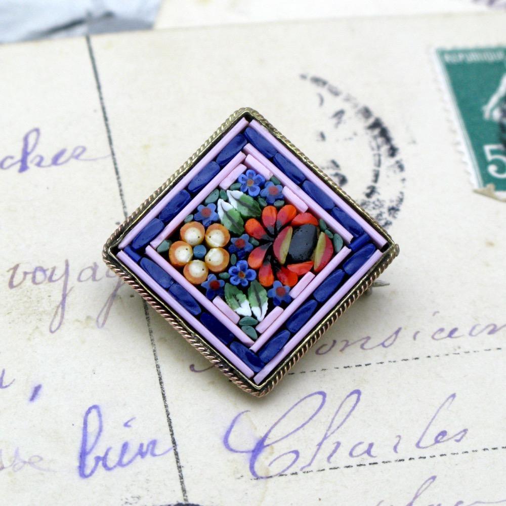 ヴィンテージ イタリア モザイク ブローチの画像