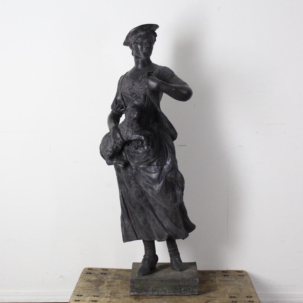 アンティーク John Cheere 羊飼いの像 女性の画像
