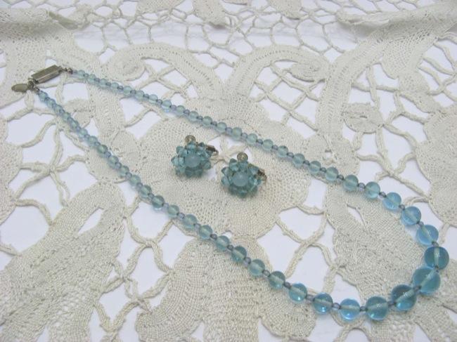 MIRIAM HASKELL ガラスビーズ ネックレス&イヤリングセットの画像