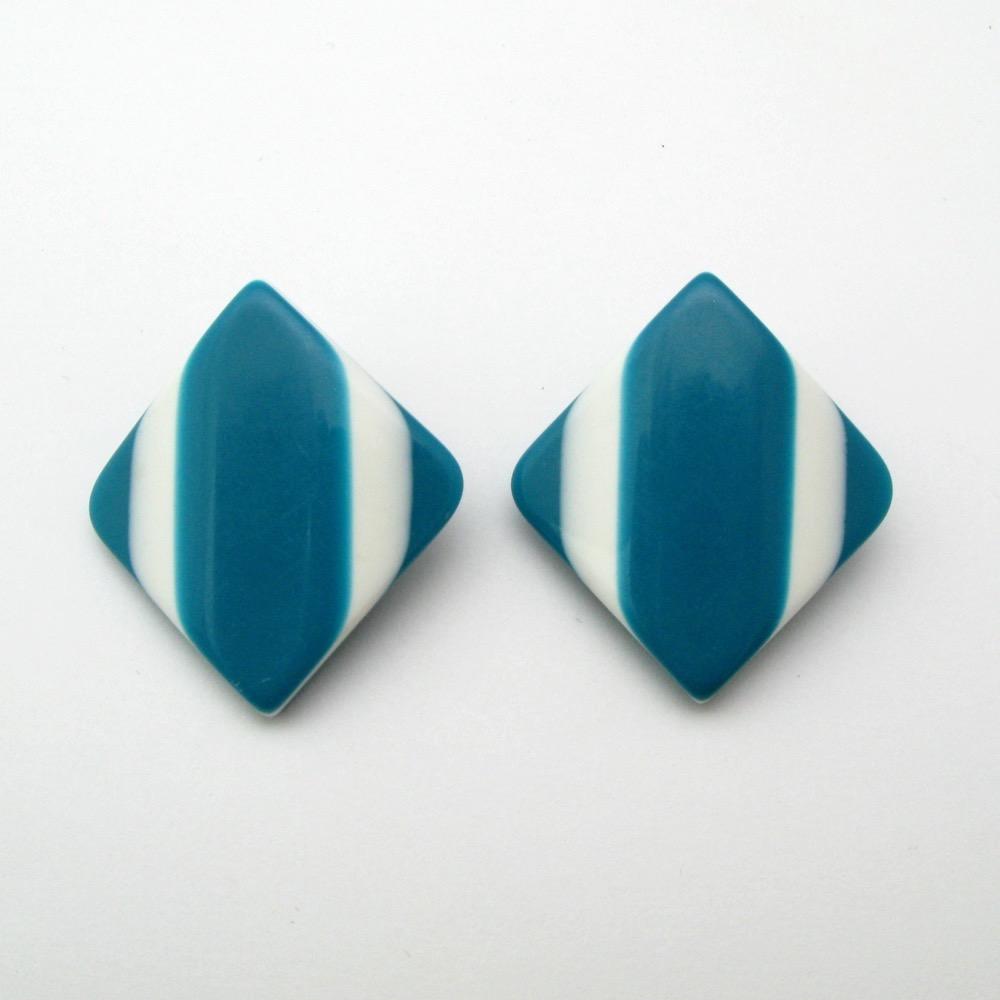 ヴィンテージ ブルー&ホワイト イヤリング画像