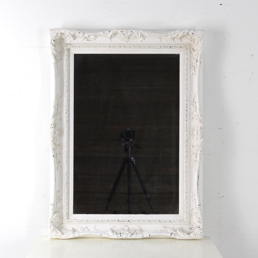 イギリス ホワイトペイント ウォールミラー画像