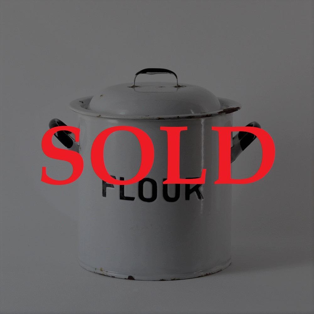 イギリス アンティーク エナメル FLOUR缶画像