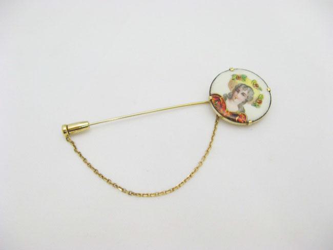 アンティーク エナメル&18金スカーフピンの画像