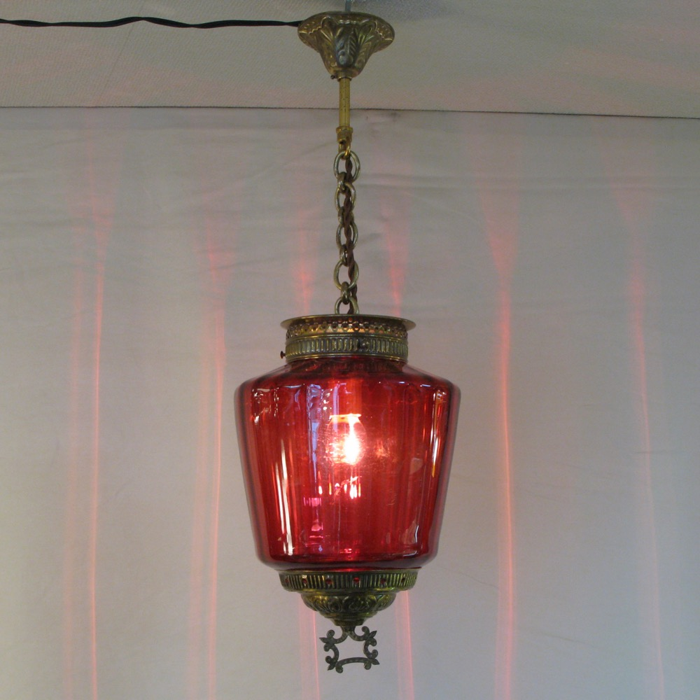 アンティーク クランベリーガラス ハンギングランプ画像