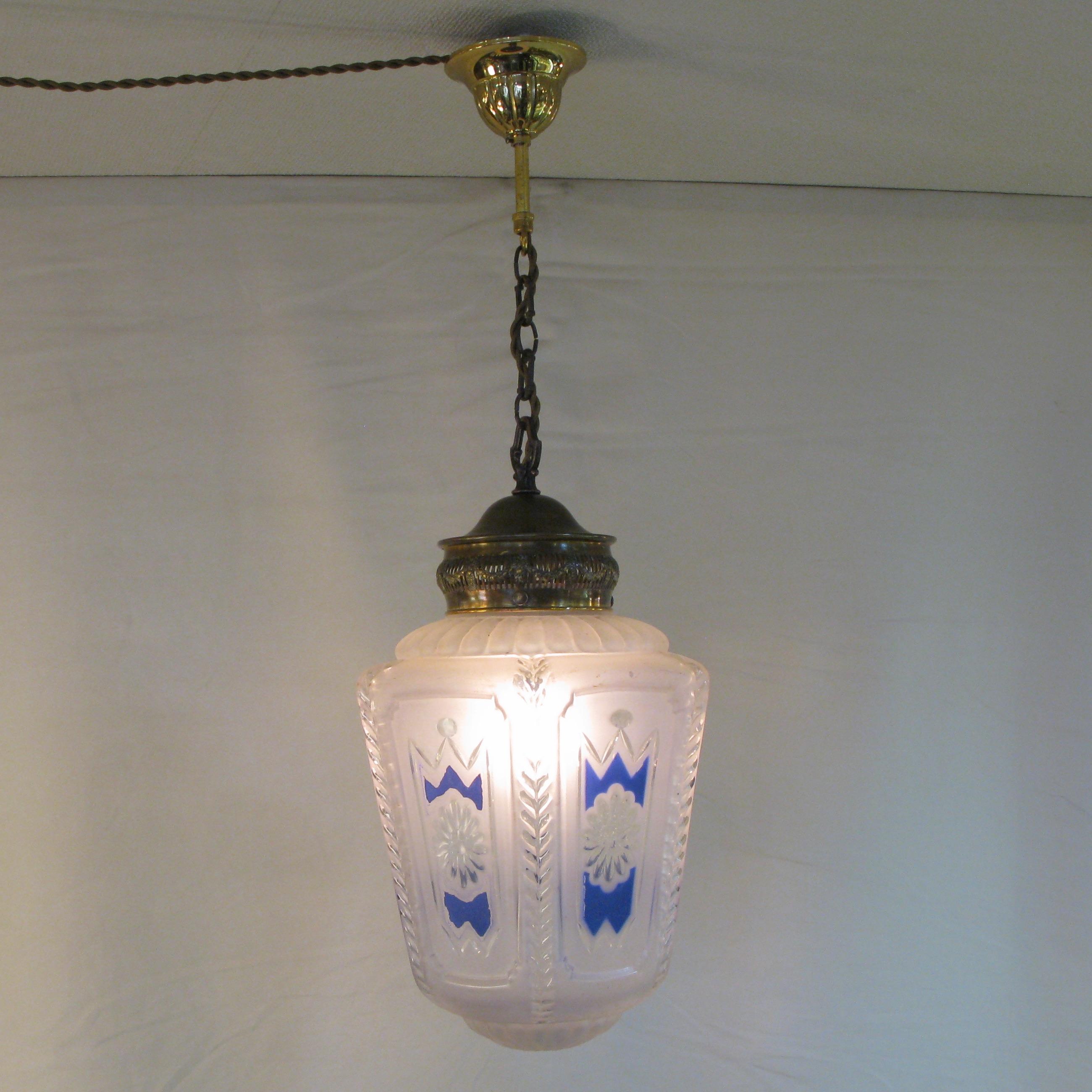 アンティーク エナメル&カットガラス ハンギングランプ画像