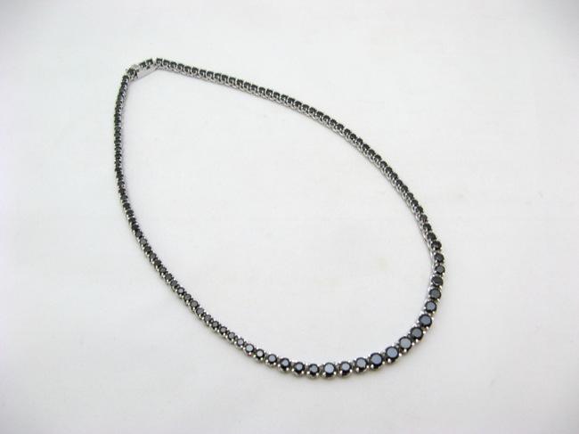 ヴィンテージ ブラックラインストーンネックレスの画像