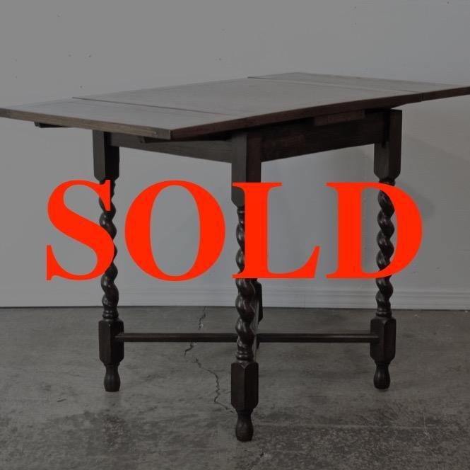 イギリス アンティーク オーク スモール ドローリーフテーブル画像