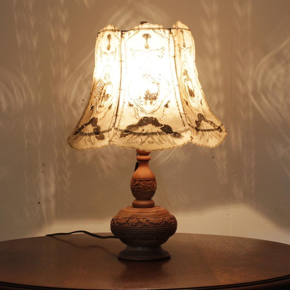 アンティーク キャメルスキン テーブルランプ画像
