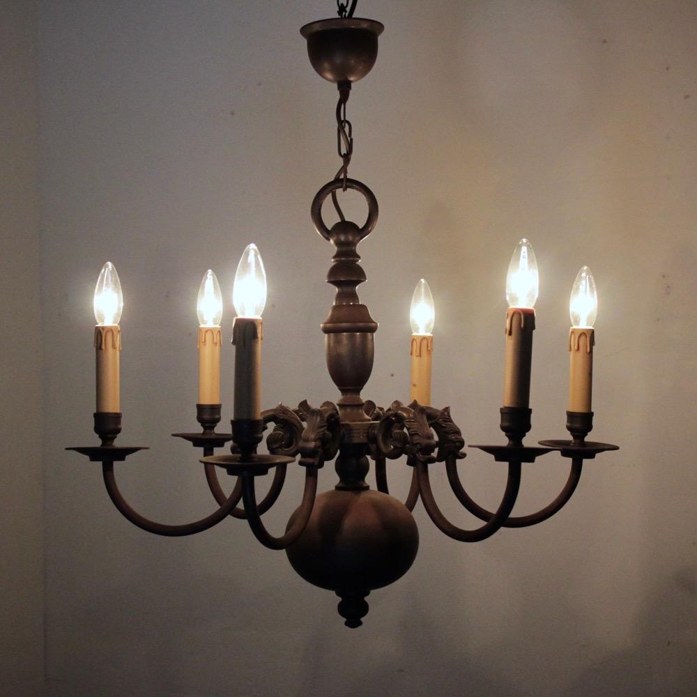 アンティーク ブラス 6灯 シャンデリアの画像