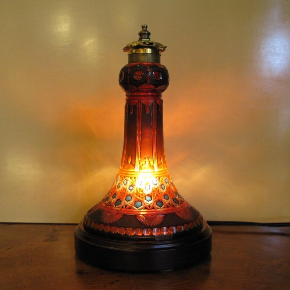 アンティーク ボヘミアガラス テーブルランプの画像