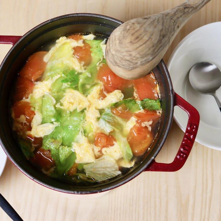 卵とレタスとトマトのスープ(5人分)画像