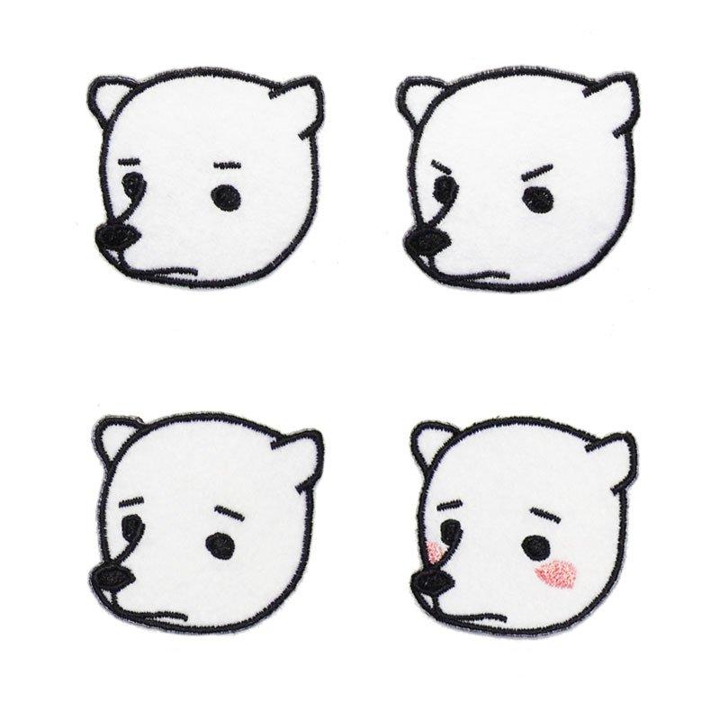 シロクマの顔ワッペン画像