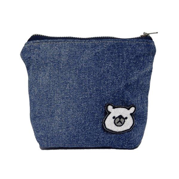 クマのデニムポーチ(ブルー)の画像