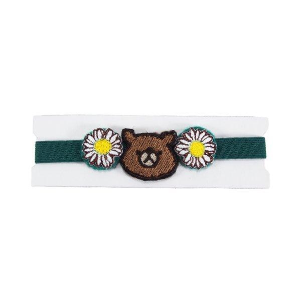 クマとお花のゴムバンドの画像