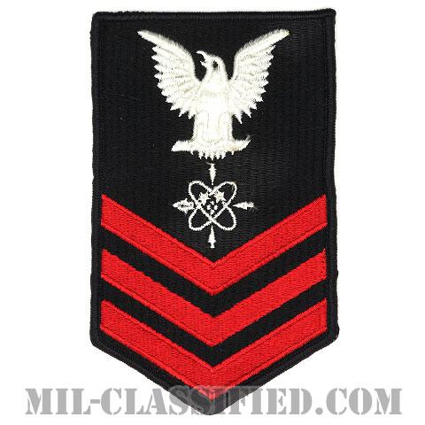 一等兵曹 データシステム技術者(Data Systems Technician (DS))[ネイビーブルー(レッド)/Male(男性用)/腕章(Rating Badge)階級章/全面刺繍タイプ]画像
