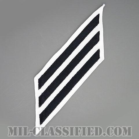 年功章 3連(勤続12年)(Service Stripe, Hash Mark)[ホワイト/海軍サービスストライプ(ハッシュマーク)/男性用(E1-E6)/パッチ]画像