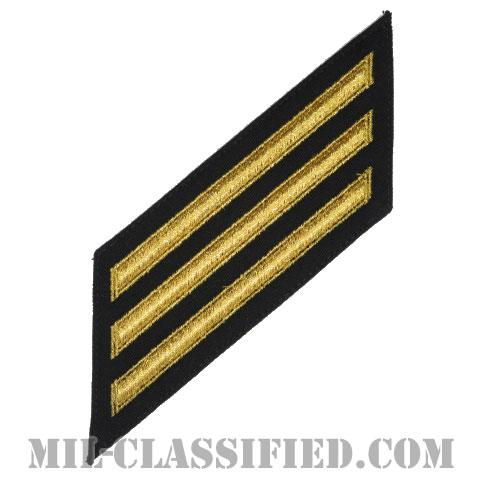 年功章 3連(勤続12年)(Service Stripe, Hash Mark)[ネイビーブルー(ゴールド)/海軍サービスストライプ(ハッシュマーク)/男性用(E1-E6)/パッチ]画像