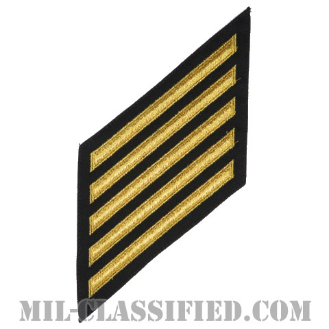 年功章 5連(勤続20年)(Service Stripe, Hash Mark)[ネイビーブルー(ゴールド)/海軍サービスストライプ(ハッシュマーク)/男性用(E1-E6)/パッチ]画像