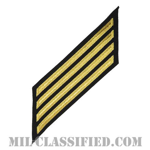 年功章 4連(勤続16年)(Service Stripe, Hash Mark)[ネイビーブルー(ゴールド)/海軍サービスストライプ(ハッシュマーク)/男性用(E7-E9 CPO)/パッチ]画像