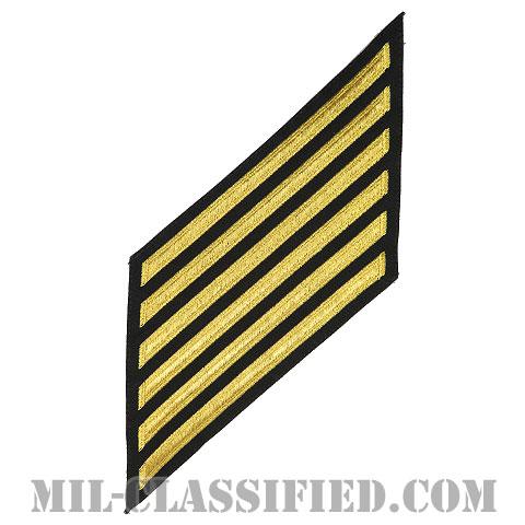 年功章 6連(勤続24年)(Service Stripe, Hash Mark)[ネイビーブルー(ゴールド)/海軍サービスストライプ(ハッシュマーク)/男性用(E7-E9 CPO)/パッチ]画像