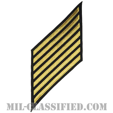 年功章 7連(勤続28年)(Service Stripe, Hash Mark)[ネイビーブルー(ゴールド)/海軍サービスストライプ(ハッシュマーク)/男性用(E7-E9 CPO)/パッチ]画像