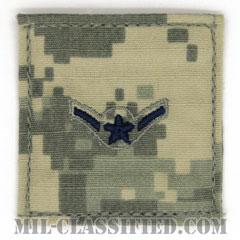二等空兵(Airman)[UCP(ACU)/空軍階級章/ブルー刺繍/ベルクロ付パッチ]の画像