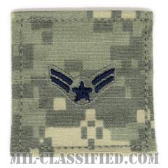 一等空兵(Airman First Class)[UCP(ACU)/空軍階級章/ブルー刺繍/ベルクロ付パッチ]の画像