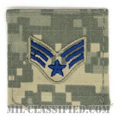 上等空兵(Senior Airman)[UCP(ACU)/空軍階級章/ブルー刺繍/ベルクロ付パッチ]の画像