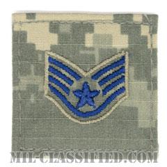 軍曹(Staff Sergeant)[UCP(ACU)/空軍階級章/ブルー刺繍/ベルクロ付パッチ]の画像