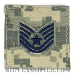 技能軍曹(Technical Sergeant)[UCP(ACU)/空軍階級章/ブルー刺繍/ベルクロ付パッチ]の画像