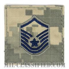 曹長(Master Sergeant)[UCP(ACU)/空軍階級章/ブルー刺繍/ベルクロ付パッチ]の画像