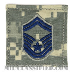 上級曹長(Senior Master Sergeant)[UCP(ACU)/空軍階級章/ブルー刺繍/ベルクロ付パッチ]の画像