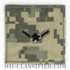 二等空兵(Airman)[UCP(ACU)/空軍階級章/ブラック刺繍/ベルクロ付パッチ]の画像