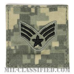 上等空兵(Senior Airman)[UCP(ACU)/空軍階級章/ブラック刺繍/ベルクロ付パッチ]の画像