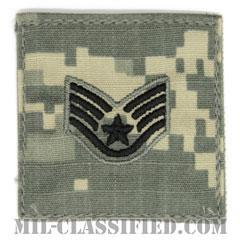 軍曹(Staff Sergeant)[UCP(ACU)/空軍階級章/ブラック刺繍/ベルクロ付パッチ]の画像