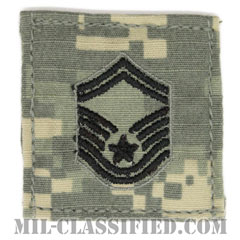 上級曹長(Senior Master Sergeant)[UCP(ACU)/空軍階級章/ブラック刺繍/ベルクロ付パッチ]の画像