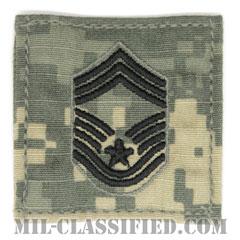 最上級曹長(Chief Master Sergeant)[UCP(ACU)/空軍階級章/ブラック刺繍/ベルクロ付パッチ]の画像