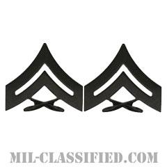 伍長(Corporal (Cpl))[サブデュード(ブラックメタル)/海兵隊階級章/バッジ/ペア(2個1組)]の画像