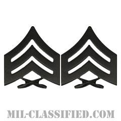 軍曹(Sergeant (Sgt))[サブデュード(ブラックメタル)/海兵隊階級章/バッジ/ペア(2個1組)]の画像