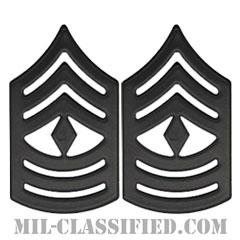 先任曹長(First Sergeant (1stSgt))[サブデュード(ブラックメタル)/海兵隊階級章/バッジ/ペア(2個1組)]の画像