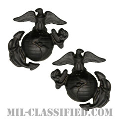 海兵隊デバイス章 (下士官用)(Enlisted Collar Badge)[サブデュード(ブラックメタル)/キャップ・襟章バッジ/ペア(2個1組)]の画像