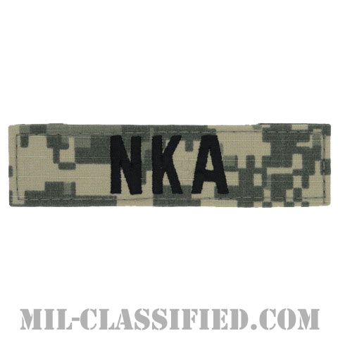 NKA(薬物アレルギーなし) [UCP(ACU)/ブラック刺繍/血液型テープ/ベルクロ付パッチ]の画像