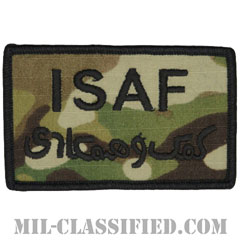 ISAF(国際治安支援部隊)ブラック縁(International Security Assistance Force)[OCP/メロウエッジ/ベルクロ付パッチ]の画像