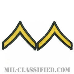 一等兵(Private Second Class (PV2))[カラー(グリーン)/メロウエッジ/階級章(男性用)/パッチ/ペア(2枚1組)]の画像