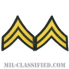 伍長(Corporal (CPL))[カラー(グリーン)/メロウエッジ/階級章(男性用)/パッチ/ペア(2枚1組)]の画像