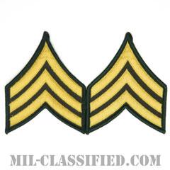 軍曹(Sergeant (SGT))[カラー(グリーン)/メロウエッジ/階級章(男性用)/パッチ/ペア(2枚1組)]の画像
