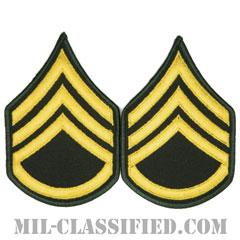 二等軍曹(Staff Sergeant (SSG))[カラー(グリーン)/メロウエッジ/階級章(男性用)/パッチ/ペア(2枚1組)]の画像