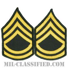 一等軍曹(Sergeant First Class (SFC))[カラー(グリーン)/メロウエッジ/階級章(男性用)/パッチ/ペア(2枚1組)]の画像